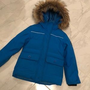 Eckored down filled kids blue jacket w/ hood. EUC!